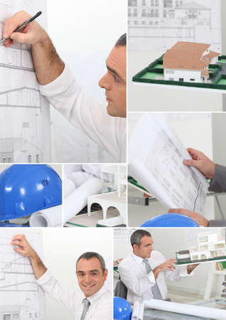 Montage of architect drawing plans to new project photo