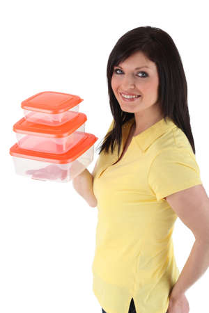 Woman with plastic food boxes photo