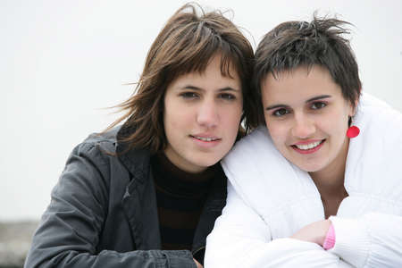 dreary: Two female in bad weather Stock Photo