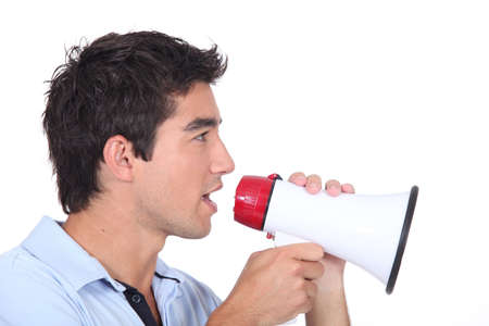 spiky: Man speaking into a megaphone