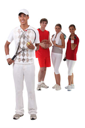 Sporty people on white background photo