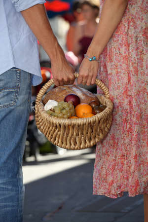 dried flower arrangement: Couple shopping at local market