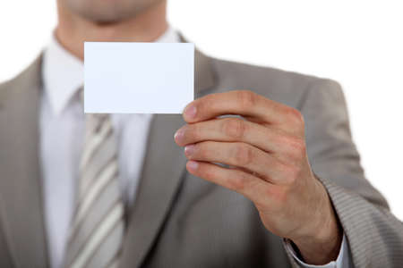 individualized: Man holding a business card