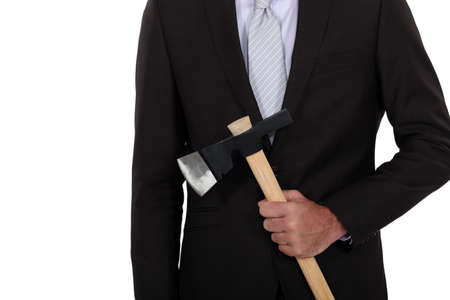 willingness: Businessman holding axe