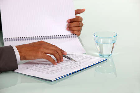 accountancy: Man checking data on a notebook Stock Photo