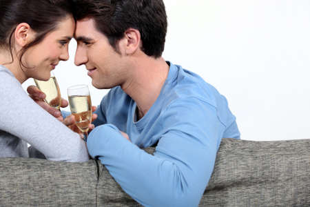 looking into: Couple celebrating a special event Stock Photo