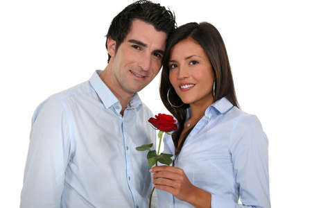 Couple with a red rose photo