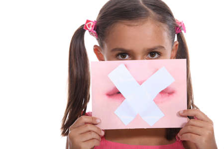 Little girl holding picture of mouth Stock Photo - 15233239