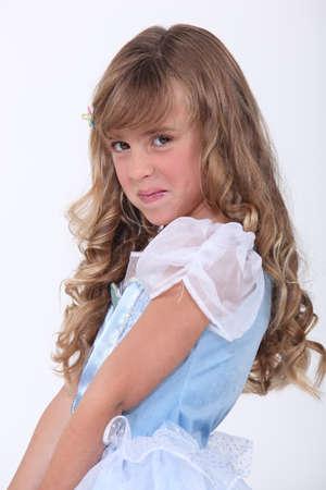 white robe: little girl in a fancy dress Stock Photo