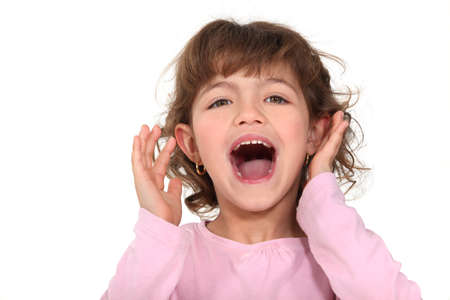 Little girl shouting photo