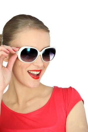 oversized: Woman wearing oversized sunglasses