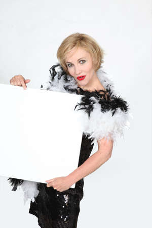 black boa: Woman wearing fancy dress Stock Photo