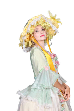 Woman with an Easter bonnet Stock Photo