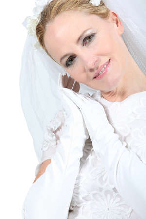 spousal: Closeup of a blonde woman in a wedding gown Stock Photo