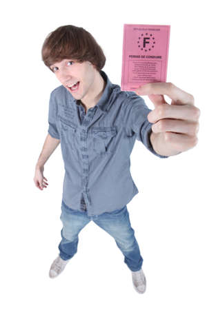 licence: Boy showing driving licence