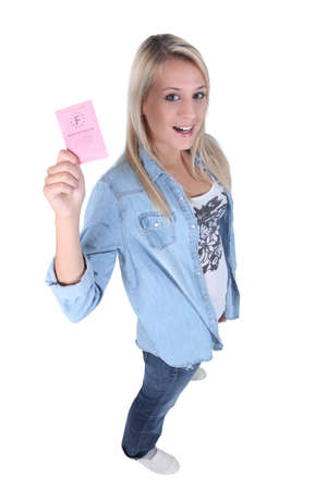 obtain: young blonde showing driving license