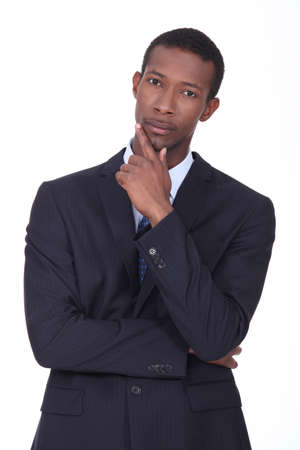Pensive African American businessman Stock Photo - 15233322