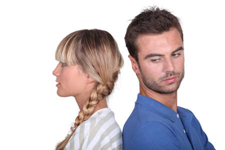 angst: Couple in a mood with one another Stock Photo
