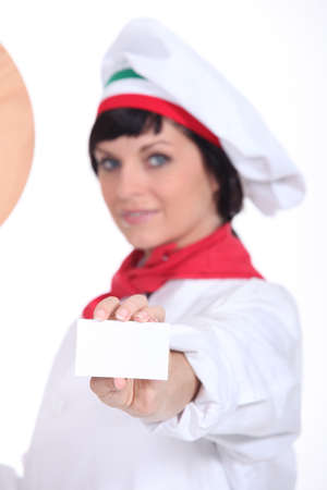 businesscard: Pizza chef holding up a blank businesscard