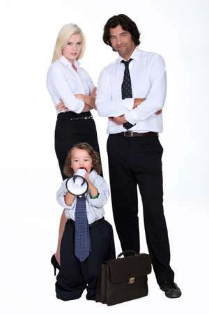 Businessman and his smart family photo