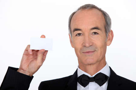 Waiter holding business card photo