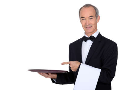 steward: Waiter pointing to a tray