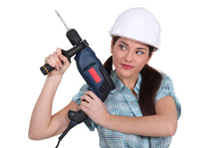 Woman with a power drill Stock Photo - 15263058