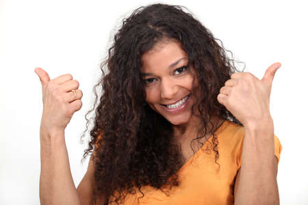 categorical: Thumbs up from a happy woman