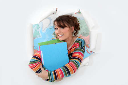 homestudy: Student in front of a map