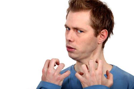 startled: Annoyed man Stock Photo