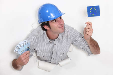 european union currency: Man holding European flag and bank notes