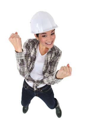 An elated tradeswoman photo