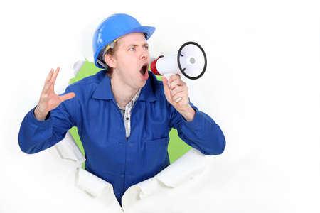 blue collar shouting in loudspeaker photo
