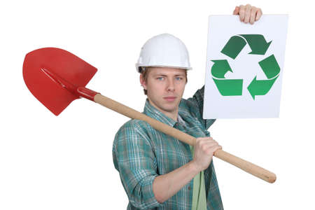 Man promoting environmental awareness photo