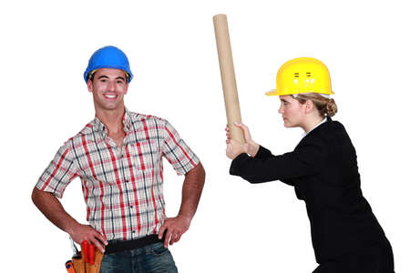 infuriate: Engineer hitting a construction worker over the head