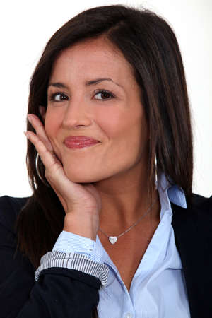 Businesswoman touching face Stock Photo - 15263328