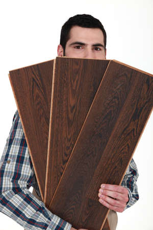 laminate: Man with wooden floor
