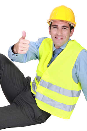 commendation: Engineer giving the thumb Stock Photo