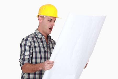 tradesman: An amazed architect  Stock Photo
