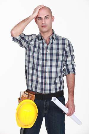 distraught: Shocked bold builder