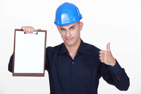 Engineer with a blank clipboard Stock Photo - 15263603