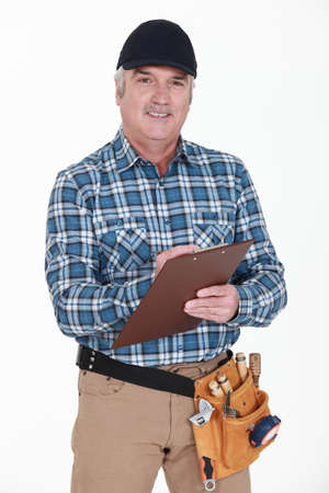 Carpenter with clipboard Stock Photo - 15263855