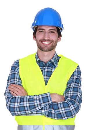 high visibility: Smiling construction worker Stock Photo