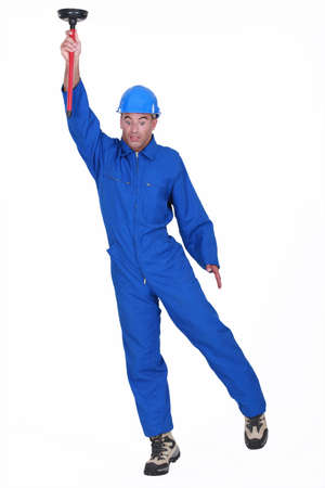 male mannequin: Plumber with plunger in hand
