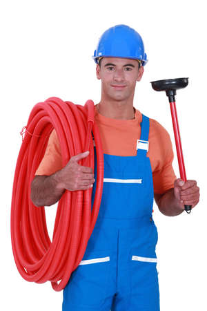 Plumber with a plunger photo