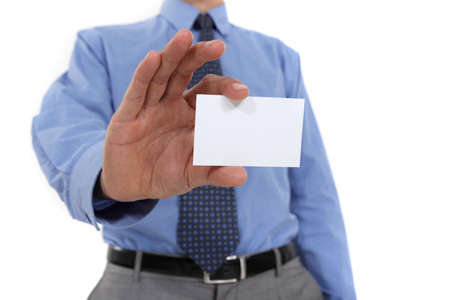 Businessman holding up his business card Stock Photo - 15263504