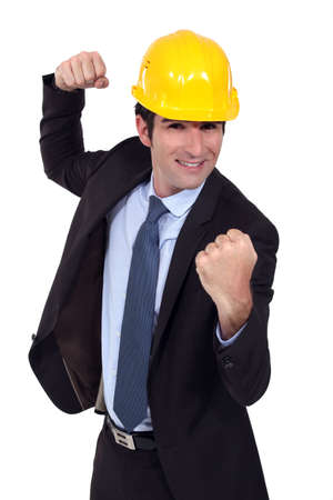 An architect in a fighting stance  photo