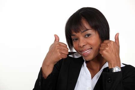 receptive: Woman giving the thumb