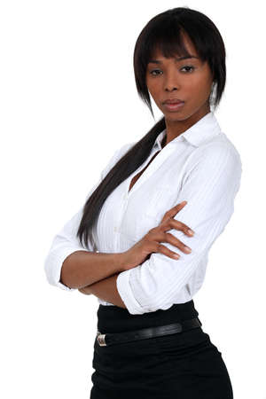 cross armed: successful black businesswoman Stock Photo