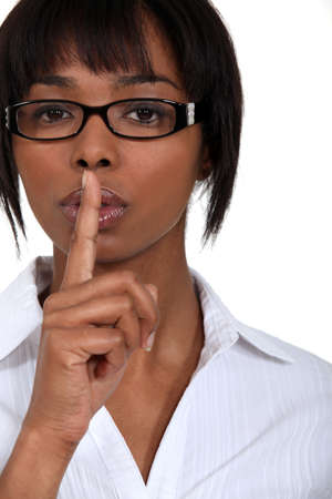 requesting: Women requesting silence Stock Photo